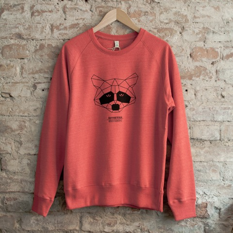 Sweatshirt-THE-RACCOON-red-black