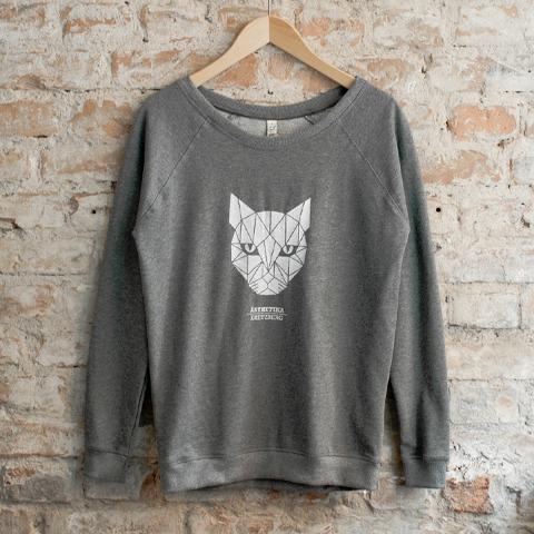 Sweatshirt-Women-THE-CAT-darkgrey-white