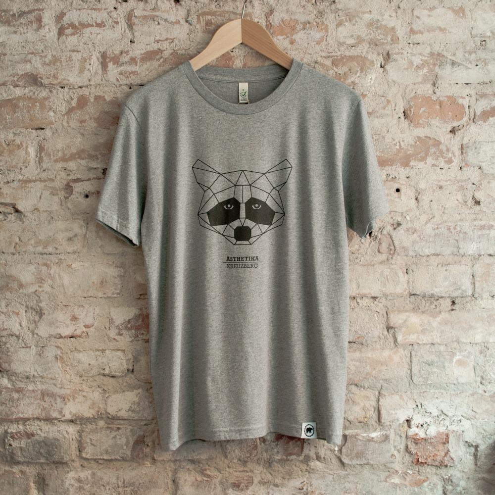 T-Shirt-THE-RACCOON-grey-black