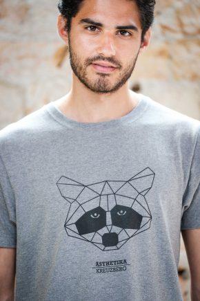 ÄSTHETIKA T-Shirt - THE RACCOON grey/black detail