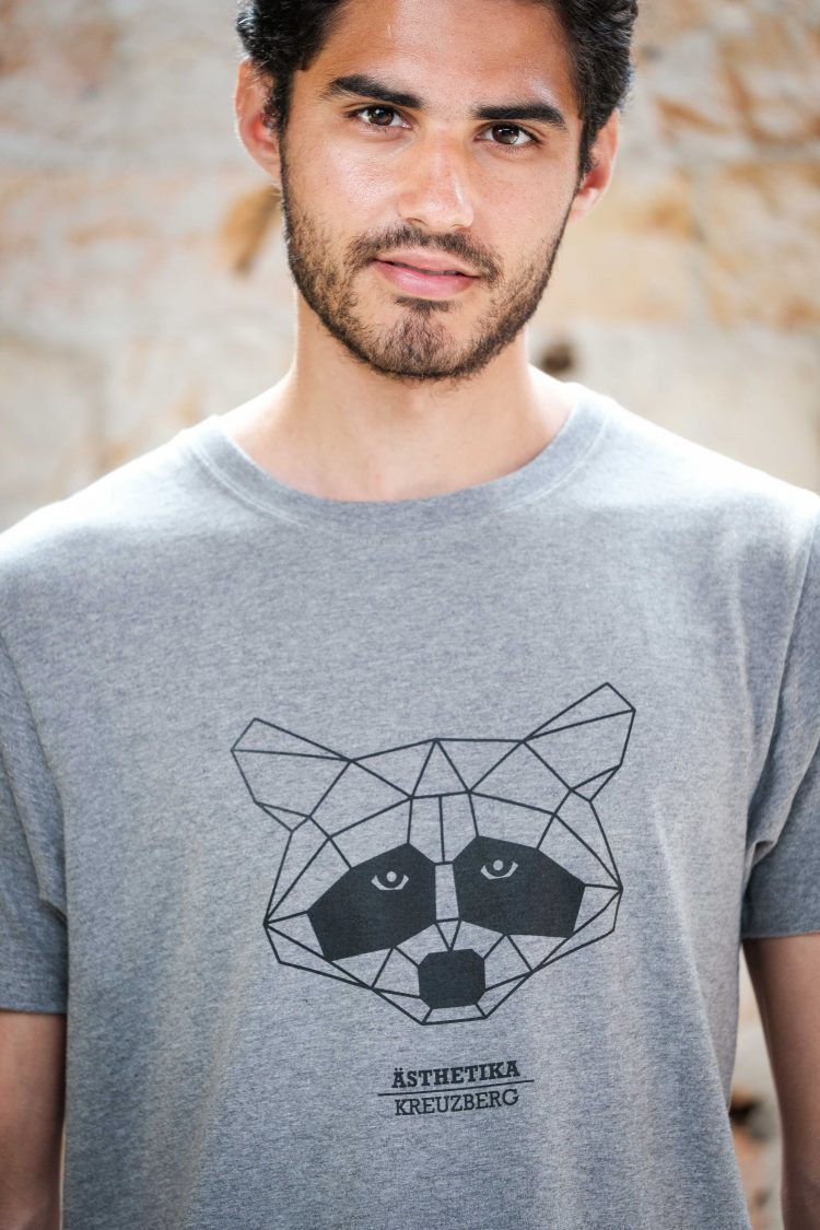 ÄSTHETIKA T-Shirt - THE RACCOON grey/black detail