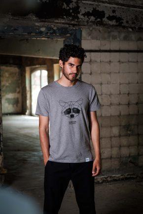 ÄSTHETIKA T-Shirt - THE RACCOON grey/black mood