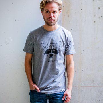 ÄSTHETIKA t-shirt raccoon grey black front