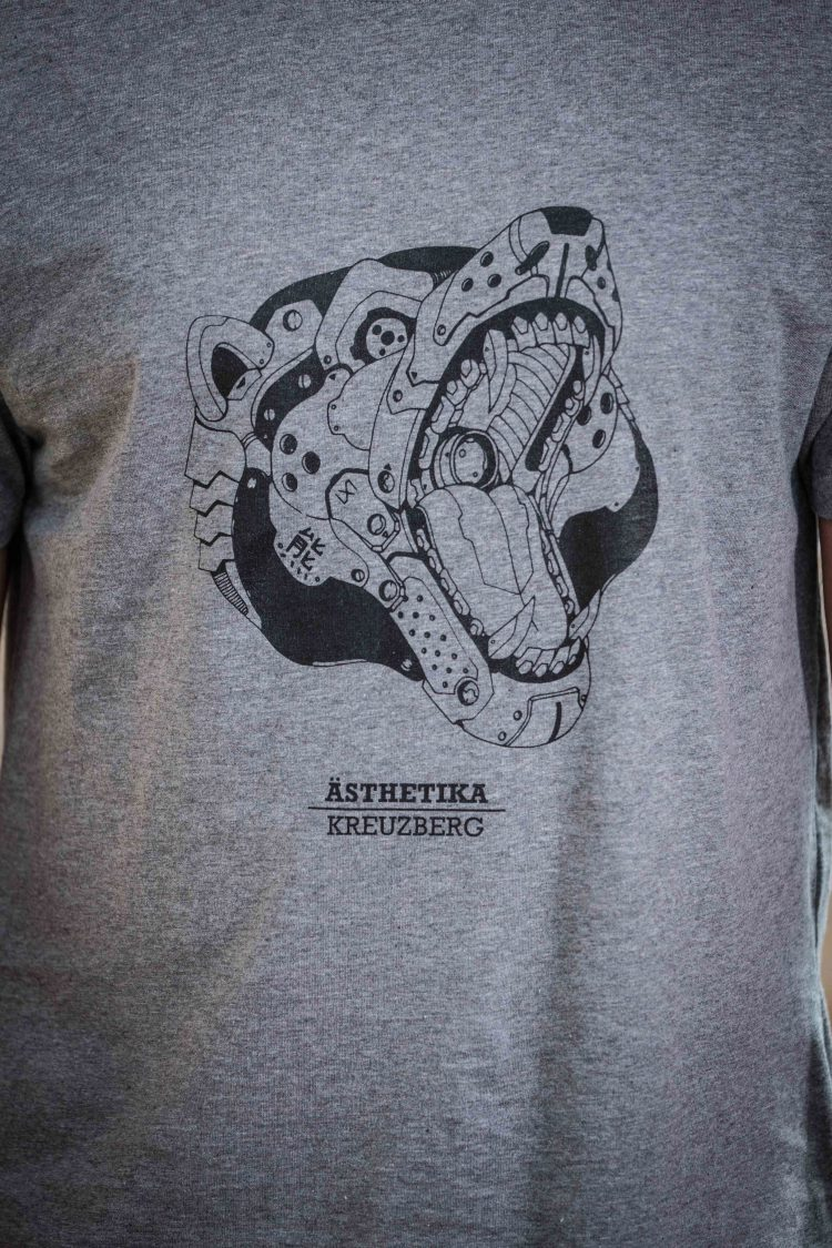 AESTHETIKA T-Shirt - ROBO BEAR grey/black detail