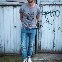AESTHETIKA T-Shirt - ROBO BEAR grey/black mood