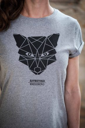 ÄSTHETIKA T-Shirt RollUp - THE FOX grey/black detail