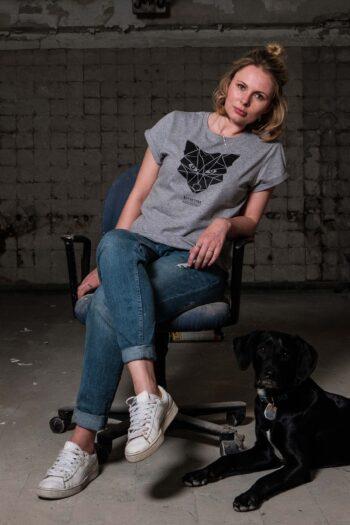 ÄSTHETIKA T-Shirt RollUp - THE FOX grey/black mood