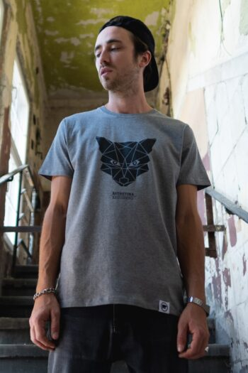 ÄSTHETIKA T-Shirt - THE FOX grey/black mood