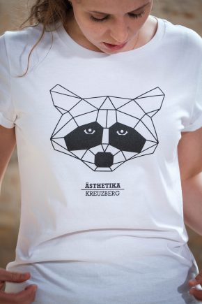 ÄSTHETIKA T-Shirt THE RACCOON white/black detail