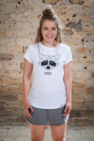 ÄSTHETIKA T-Shirt THE RACCOON white/black front