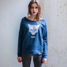 ÄSTHETIKA sweatshirt women fox dark denim white front