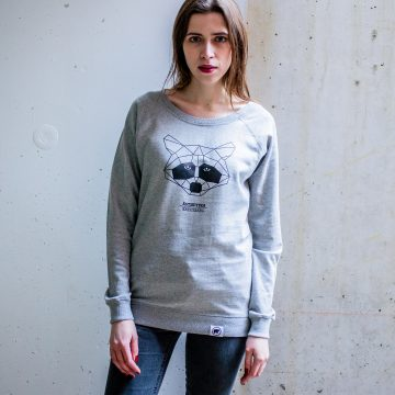 ÄSTHETIKA sweatshirt women raccoon grey black front