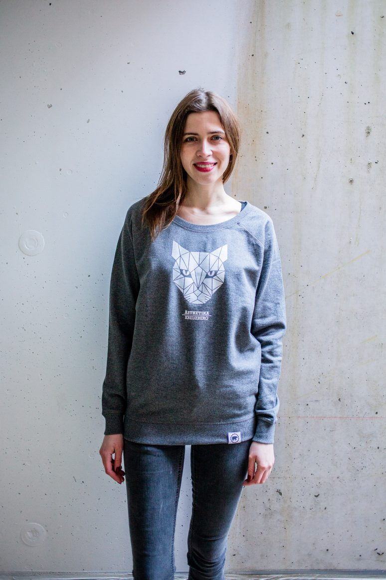 ÄSTHETIKA sweatshirt women cat dark-grey white front