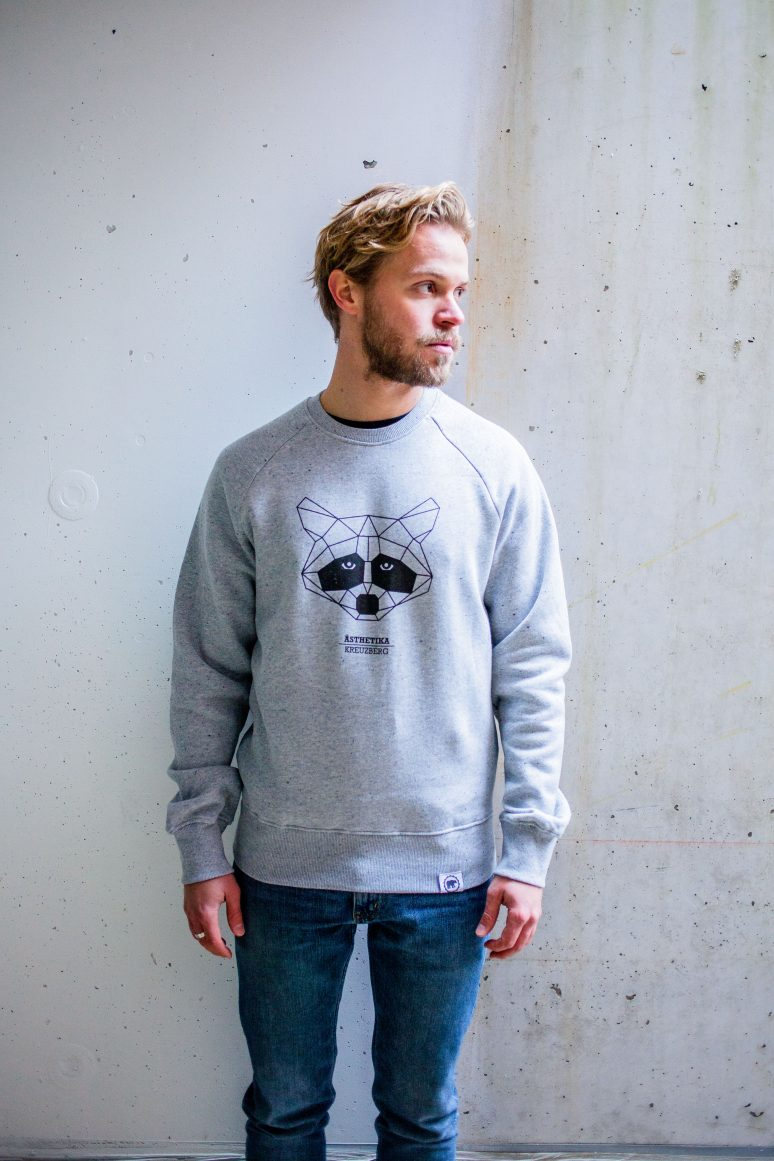 ÄSTHETIKA sweatshirt raccoon grey black front