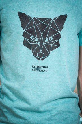 AESTHETIKA T-Shirt - THE FOX mid green/black detail
