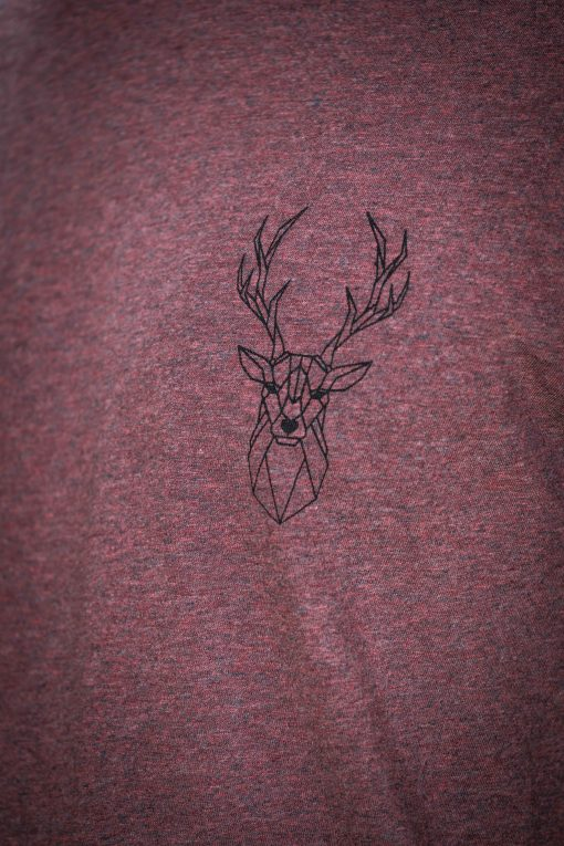 ÄSTETIKA T-Shirt - THE DEER cranberry/black detail