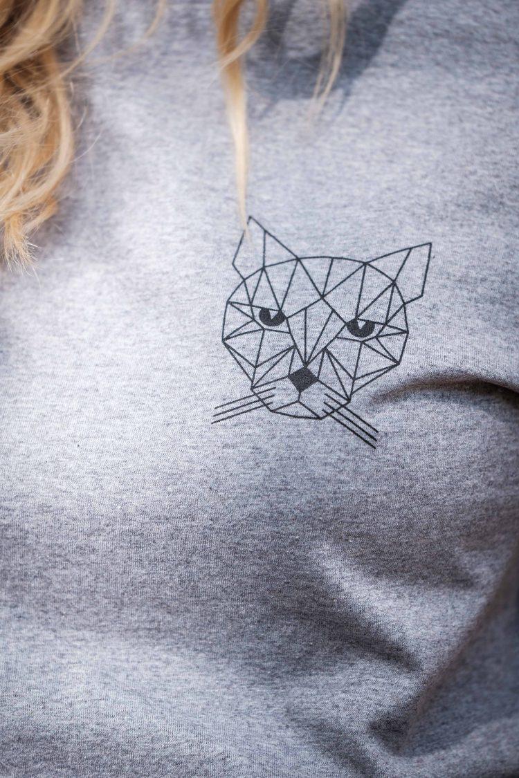 ÄSTHETIKA T-Shirt Roll Up - TINY CAT grey/black detail