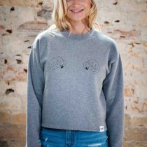 ÄSTHETIKA Sweatshirt Cropped - GRL PWR grey/black front