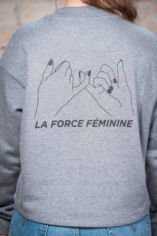 ÄSTHETIKA Sweatshirt Cropped - LA FORCE FÉMININE grey/black detail