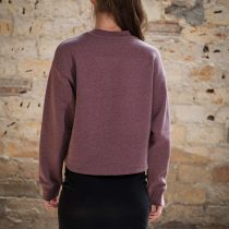 ÄSTHETIKA Sweatshirt Cropped - THE DEER cranberry/black back