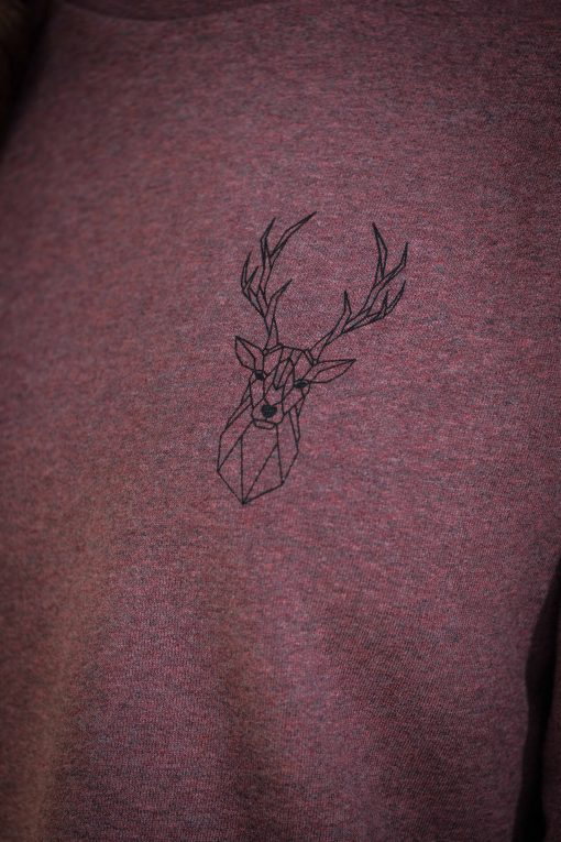 ÄSTHETIKA Sweatshirt Cropped - THE DEER cranberry/black detail