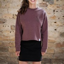 ÄSTHETIKA Sweatshirt Cropped - THE DEER cranberry/black front
