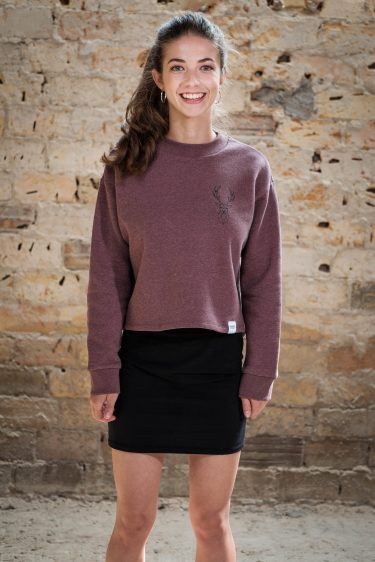 ÄSTHETIKA Sweatshirt Cropped - THE DEER cranberry/black front
