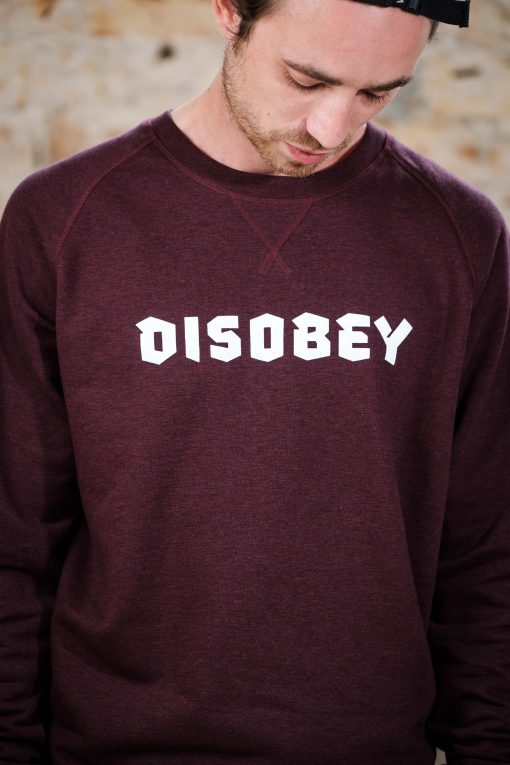 ÄSTHETIKA Sweatshirt - DISOBEY grape red/white detail