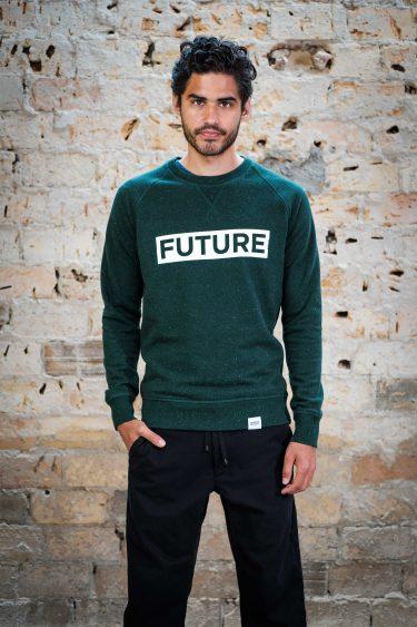 ÄSTHETIKA Sweatshirt - FUTURE scarab green/white front