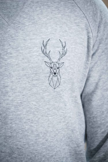 ÄSTHETIKA Sweatshirt -THE DEER grey/black detail