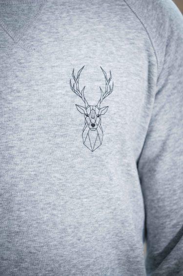 ÄSTHETIKA Sweatshirt -THE DEER grey/black detail