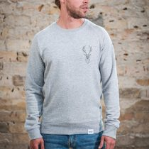 ÄSTHETIKA Sweatshirt -THE DEER grey/black front
