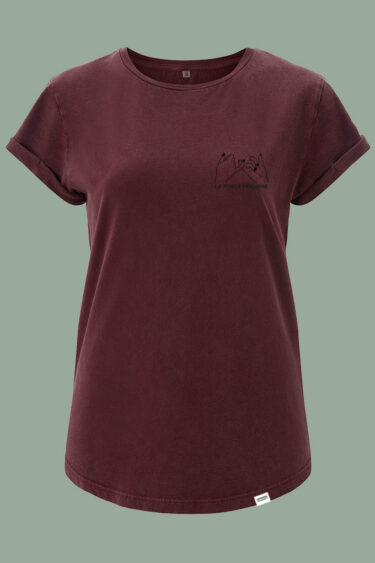 AESTHETIKA T-SHIRT ROLL-UP LA FORCE FEMININE stone burgundy black front