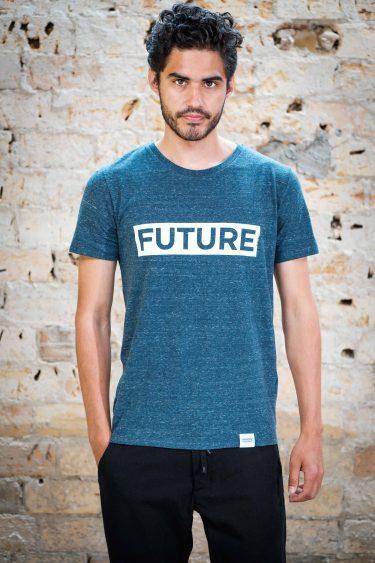 ÄSTHETIKA T-Shirt - FUTURE dark denim/white front