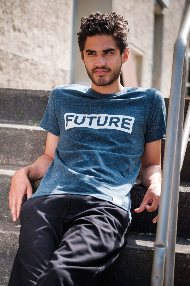 ÄSTHETIKA T-Shirt - FUTURE dark denim/white mood
