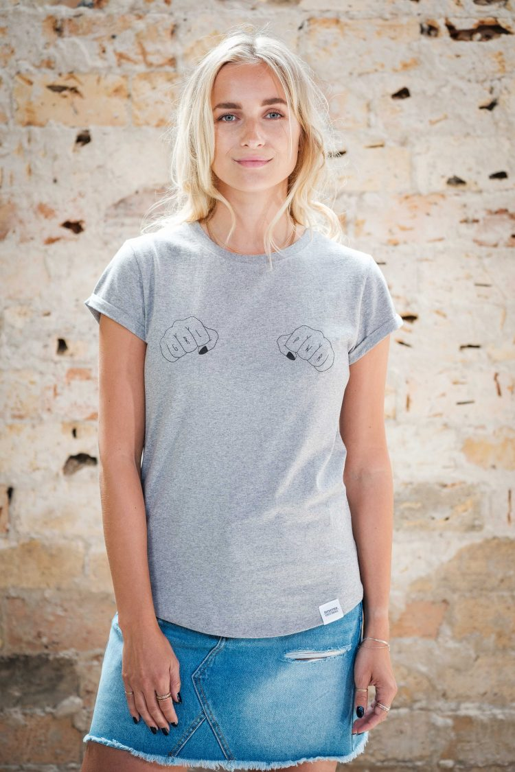 ÄSTHETIKA T-Shirt Roll Up - GRL PWR grey/black front