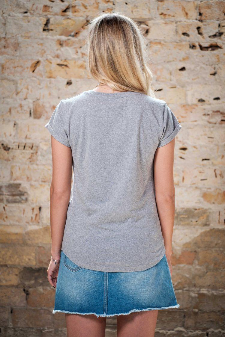 ÄSTHETIKA T-Shirt Roll Up THE DEER grey/black back