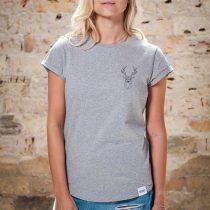 ÄSTHETIKA T-Shirt Roll Up THE DEER grey/black front