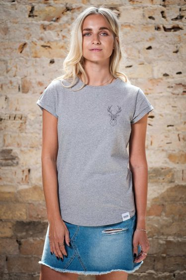 ÄSTHETIKA T-Shirt Roll Up THE DEER grey/black front