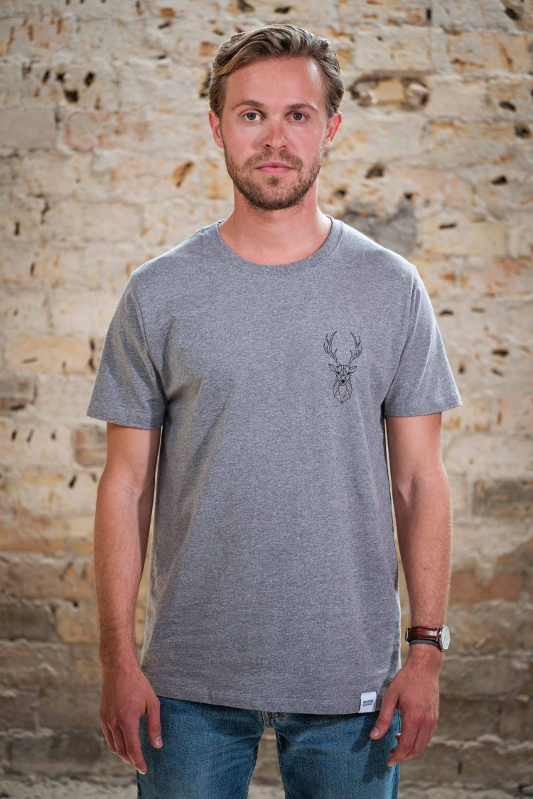 ÄSTHETIKA T-Shirt - THE DEER grey/black front