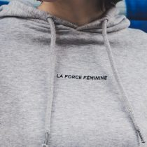 ÄSTHETIKA Hoodie Cropped - LA FORCE FEMININE grey/black detail