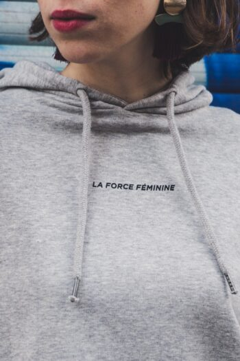 ÄSTHETIKA Hoodie Cropped - LA FORCE FEMININE grey/black detail