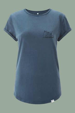 AESTHETIKA T-SHIRT ROLL-UP LA FORCE FEMININE stone blue black front