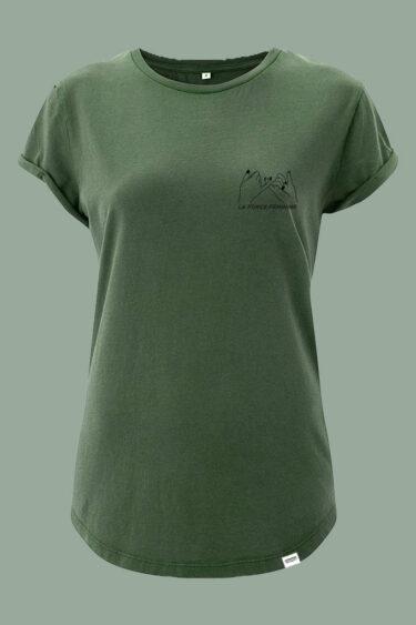 AESTHETIKA T-SHIRT ROLL-UP LA FORCE FEMININE stone green black front