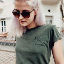 T-Shirt Roll Up - LA FORCE FÉMININE stone washed green/black 2