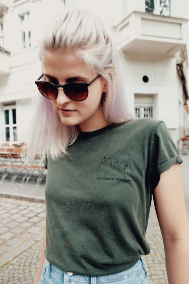 T-Shirt Roll Up - LA FORCE FÉMININE stone washed green/black 2
