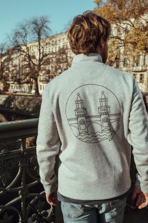 Sweatshirt Trcuker – OBERBAUM grey/black back