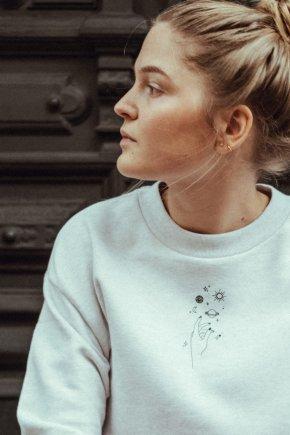 Sweatshirt cropped twinkle cream/black detail