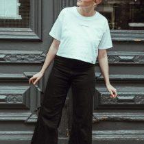 T-Shirt cropped La Force Féminine mini white black