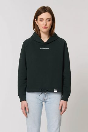 AESTHETIKA HOODIE CROPPED LA FORCE FEMININE mini black white front
